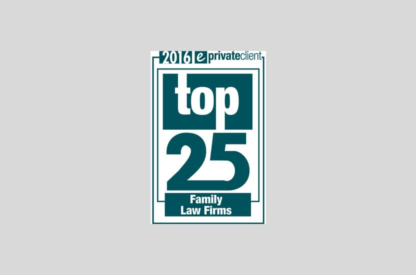 Family Team ranked as eprivateclient Top 25 Family Law Firms 2016